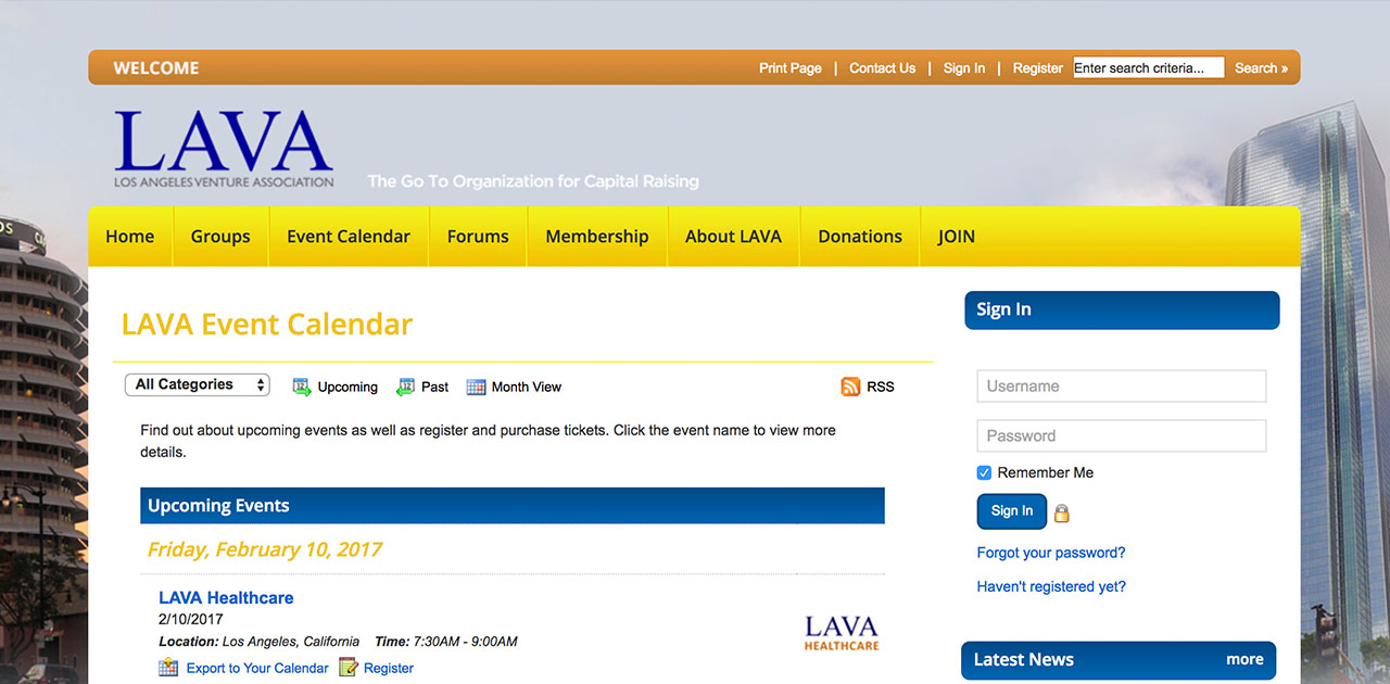 LAVA events page before SilkStart