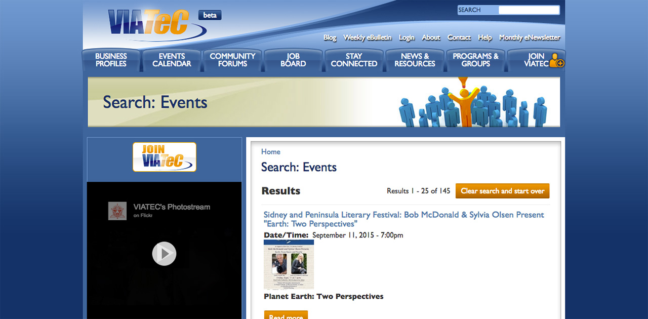 Viatec events page before SilkStart
