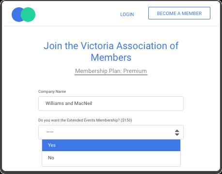Dynamic membership fee calculator online membership signup and renewal.